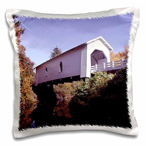Sandy Mertens Oregon - Crabtree Creek (Hoffman) Covered Bridge - 16x16 inch Pillow Case