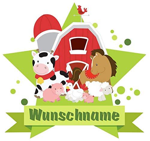 Samunshi® Bauernhof Tiere Aufkleber mit Namen Autoaufkleber Namensaufkleber Kinder in 7 Größen (40x35cm Mehrfarbig)