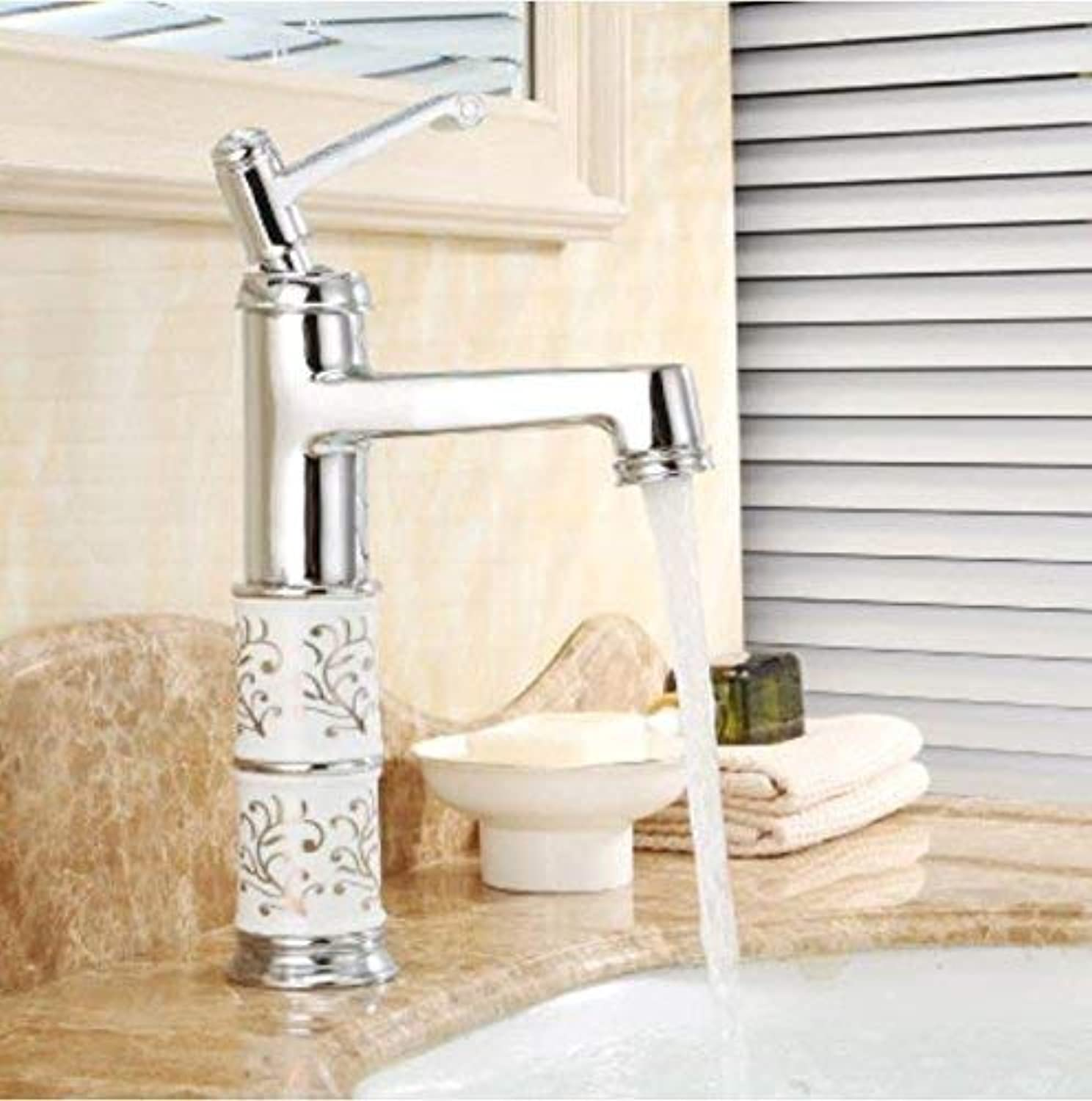 Oudan Cold and Hot Copper Bath Basin Faucet Antique Wash Basin Faucet European Basin Basin Washbasin Faucet Ceramic Valve Core with Hose (color   -, Size   -)