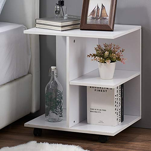 GRELO HOME Nightstand Modern End Side Table with Rolling Wheels, Bedside Table with Open Shelf, Night Printer Stand Storage Shelf, White