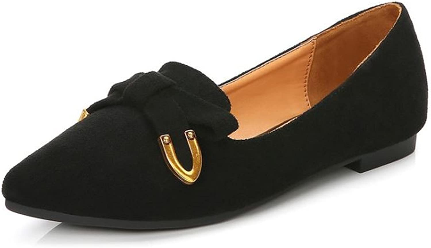 COLOV Women's Classic Comfort Soft Suede Pointy Toe Ballet Flat Ballerina Slip On shoes