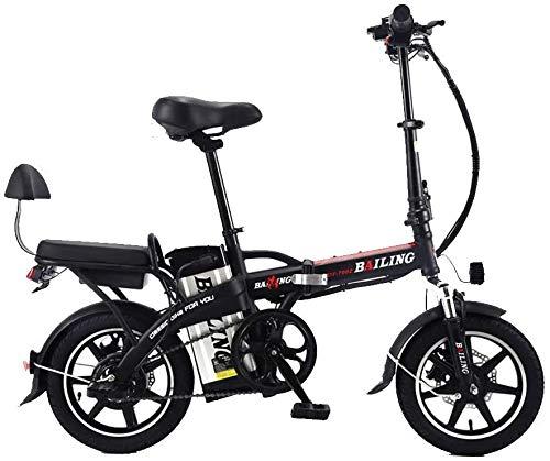 "QUETAZHI Faltbare Elektro-Fahrrad Sand Schnee-Fahrrad 14 ""Ebike 350W Elektro-Mofas bewegliche elektrische Fahrrad-Lithium-Batterie 48V 10Ah QU526 (Color : Black)"