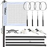 Vanku 6.09M * 0.76M Filet de Badminton Portable Exterieur,Ensemble de Filet de Badminton avec 2 Badmintons et 4 Raquettes de Badminton pour Les Sports Intérieurs ou Extérieurs Légère Pliable