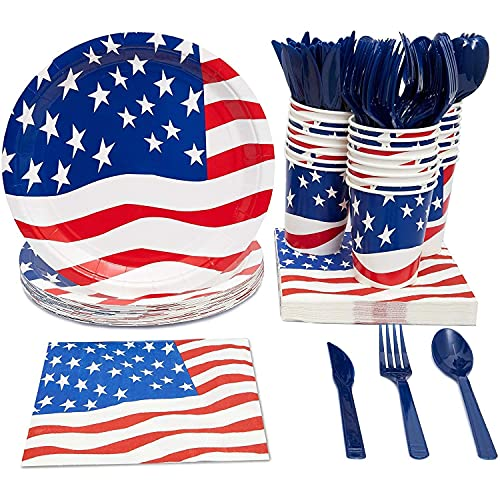 American Flag Party Bundle, Includes Paper Plates, Napkins, Cups and Cutlery (Serves 24, 144 Total Pieces)