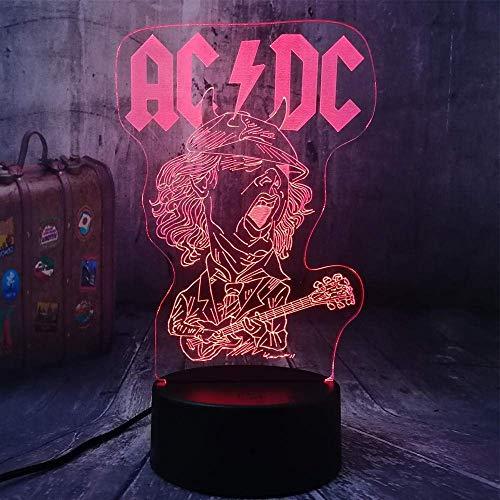 Luz de noche 3D cool AC/DC banda de rock fan de la música mejor regalo luz de noche LED 3D USB acrílico lámpara de mesa habitación decoración del hogar cumpleaños