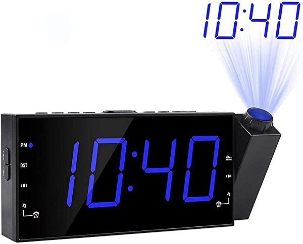 LZYCL Digital Projector Clock Am Fm Radio Alarm Clock Ultra Clear Led Alarm Snooze Timer Temperature With Dimmer USB Charging For Kids Bedroom Kitchen Blue
