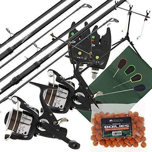 2 X Karpfen Sucher Fischen Stangen + 2 X Max 40 2BB Rollen + 2 X VX1 Bissanzeiger + Session Angelrute Gehäuse + Quickfish Matte + 4 St.Werkzeuge & Fischköder