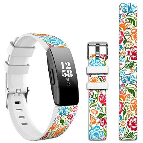 Topgraph Kompatibel mit Fitbit Inspire HR / Ace2 Armband,Silikon Band Sport Ersatzband Uhrenarmband für Fitbit Inspire HR Smartwatch [Luxury Fashionable Floral Art Flower Pattern]