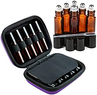 Roller Bottle Essential Oil Carrying Case Bundle with Accessories - Holds Ten 5ml & 10ml Roller Bottles- Comes W/ 6 Amber Glass Stainless Steel Roller Bottles - Free Roller Bottle Opener - Purple