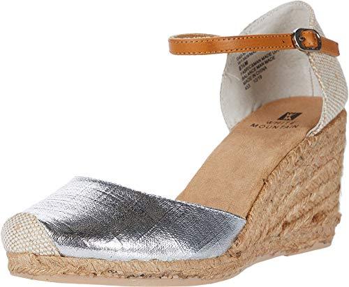 WHITE MOUNTAIN Shoes Mamba Women's Espadrille Wedge, Silver/Met/Fab, 6.5 M