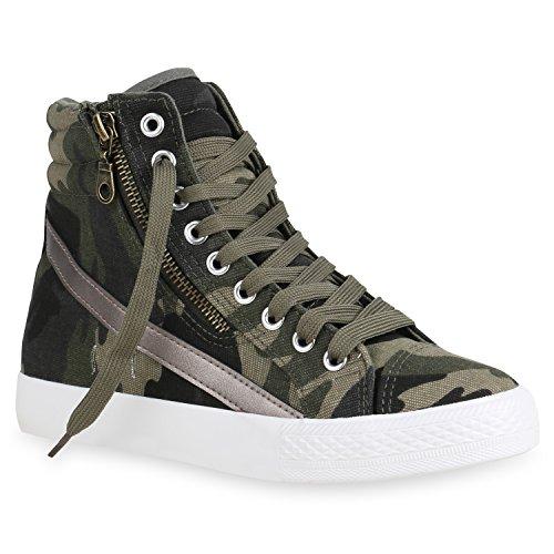 stiefelparadies Damen Schuhe High Top Sneakers Sportschuhe Kult Schnürer 156901 Camouflage Zipper 36 Flandell