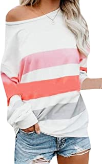 Macondoo Womens Blouse Long-Sleeve Round-Neck Tops Oversize Striped Printed T-Shirt