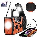 NOAA Weather Radio,Portable Solar Hand Crank USB Rechargeable Radios with AM/FM/WB,Emergency Radio for Hurricane,Tornado,Household with Lamp LED Flashlight SOS Alarm 2000mAh Power Bank