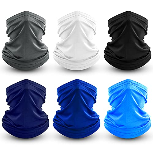 Dapaser 6 Pack Bandana Face Mask Breathable Cooling Neck Gaiters for Men Women Dust UV Protection Reusable Face Cover for Running Fishing