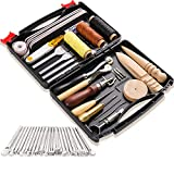 50 Pieces Leather Tools Kit, Leather Tools and Supplies, Leather Working Kits Supplies with Leather Tool Box...