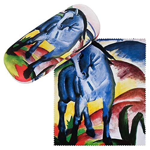 VON LILIENFELD VON LILIENFELD Brillenetui Franz Marc Blaues Pferd Kunst Brillenputztuch Brillenbox Stabiles Hardcase Set mit Putztuch