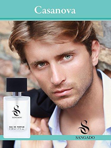 SANGADO Casanova Perfume para Hombres, Larga Duración de 8-10 horas, Olor Lujoso, Aromática Especiada, Francesas Finas, Extra Concentrado (Eau de Parfum), Spray de 50 ml, Un Gran Regalo Para Hombres