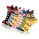 Emooqi Women's Cotton Socks, 6 Pairs Owl Design, Funny Coloured Cotton Socks, Breathable Women's Socks for Women und Girls, EU 35-40 (rot)