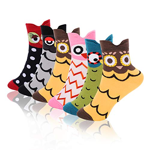 Emooqi Women's Cotton Socks, 6 Pairs Owl Design, Funny Coloured Cotton Socks, Breathable Women's Socks for Women & Girls, EU 35-40 (rot)