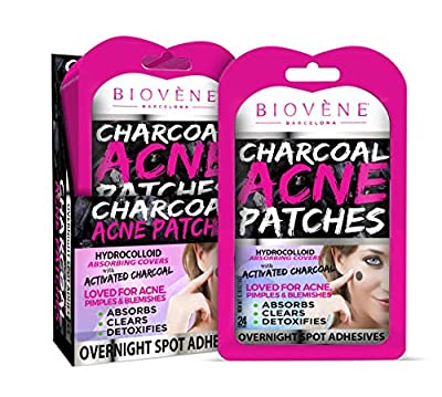 Biovène Charcoal Acne Patches - Cleanses Skin Deeply, Targets Spots + Unclogs Impurities - Spot Patches to Remove Excess Oil - With Activated Bamboo Charcoal to Minimize Breakouts (24 Patches)