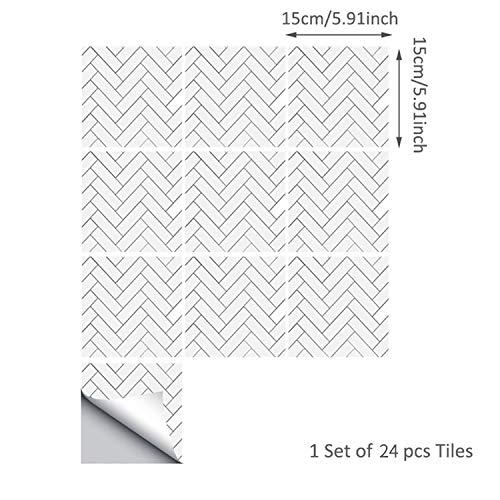 ENCOFT 24 Pezzi 15x15 Mattonelle Adesive, Adesivi per Piastrelle in PVC Impermeabile Autoadesivo per Bagno Cucina Pavimento Fai da Te, Bianco