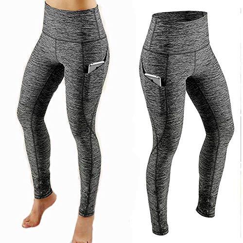Pantalones de Yoga Mujeres Workout out Polainas de Bolsillo Fitness Deportes Gimnasio Running Yoga Pantalones de Cintura elástica Legging Sport-Gris_SG