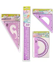 REGLAS DE PLÁSTICO QUIJOTE - Reglas Sweet Pastelito, medidas desde 9 hasta 30cm, colores pastel, con estuche de plástico, para uso escolar o universitario.