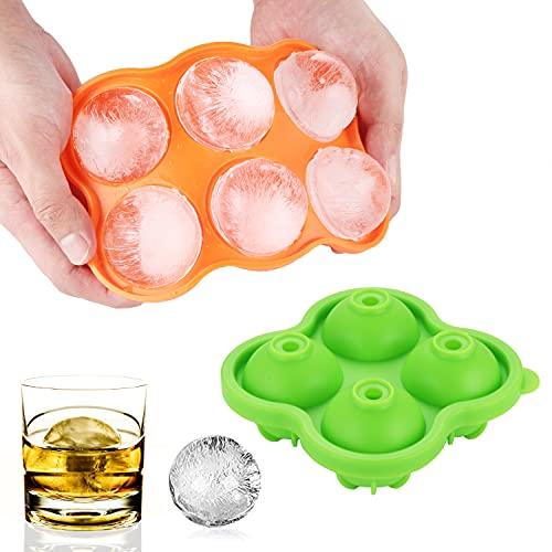 BONTHEE Eiswürfelform Rund Silikon Eiswürfelschale Kugel Eiskugelform mit Deckel 10 Groß Eisbällchen für Whisky, Cocktails, Bier (5 cm)