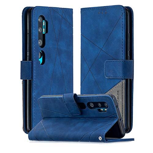 SHUNDA Capa para Xiaomi Mi CC9 Pro, capa flip magnética de couro com compartimento para cartão e suporte para Xiaomi Mi CC9 Pro - azul