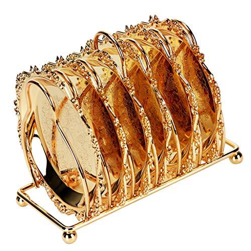 P Prettyia 7 x Vintage Eisen Snack Teller Obst Serviertablett mit Rack, Silber, Gold - Gold