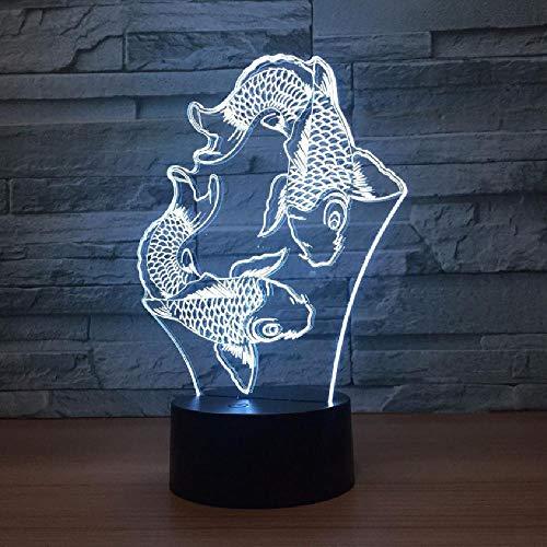 Natación Peces 3D Lámpara de Lava Creativa 7 Cambio de Color 3D LED Luz de Noche RGB Ambiente Decoración de Boda Regalo Dormitorio Lámpara de Mesa
