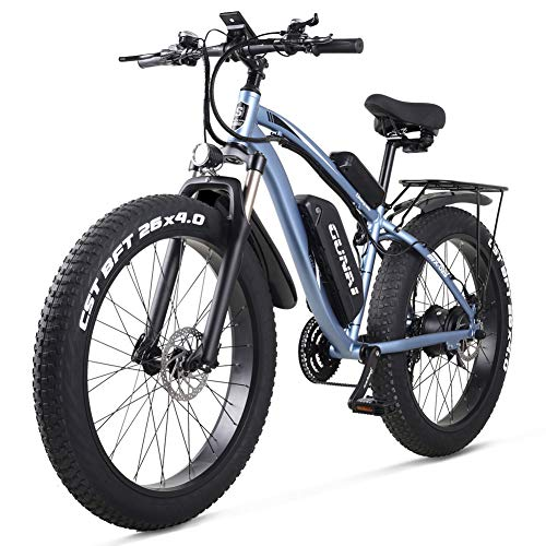 GUNAI Bicicleta Eléctrica Fat Bike 26'4.0 Neumático 1000W Off-Road E-Bike 48V 17AH Bicicleta de Montaña con Asiento Trasero(Azul)