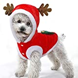 AOLVO Lindo Reno Mascota Elk Navidad Perro Xmas Disfraz de Moda Cachorro Mono Abrigo Vestido de Fiesta cálido forteddy, Yorkshire Terrier, Chihuahua, Regalo Festivo
