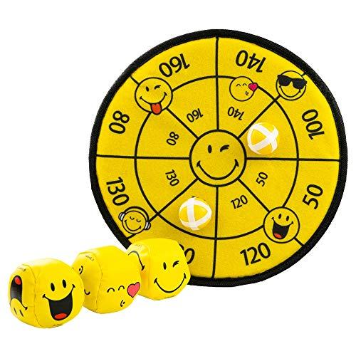 BG Smiley Jonglierbälle und Kinder Dartscheibe als Smiley Set mit 3 Bällen zum Jonglieren und Einer Klett Dartscheibe mit 2 Wurfbällen - pädagogisch wertvolles Spielzeug für Kinder und Erwachsene