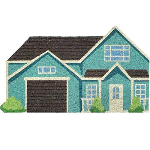 Fisura | Felpudo con forma de casa (fibra de coco y PVC, 1,5 x 40 x 70 cm), color turquesa