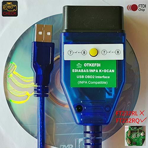 OTKEFDI Inpa K DCAN OBD-Codescanner, Ediabas NCS-Experte Rheingold OBDII-Diagnosewerkzeug für E81, E82, E83, E87, E88, E46, E90, E91, E92, E93, E53, E60, E85, E86, E71
