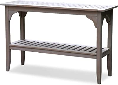 Cambridge Casual Superior Indonesian Auburn Solid Teak Wood Outdoor Console Table, Weathered Gray