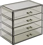 Sorbus Acrylic Cosmetics Makeup and Jewelry Storage Case Display– 4 Large Drawers Space- Saving, Stylish Acrylic Bathroom Case Great for Lipstick, Nail Polish, Brushes, Jewelry and More (Black Jewel)