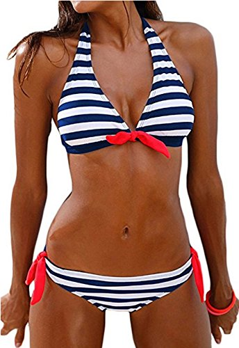 Sixyotie Damen Bikini Set Streifen Pin Up Padded Bademode Strand Bikini (Blue, M(EU 34))