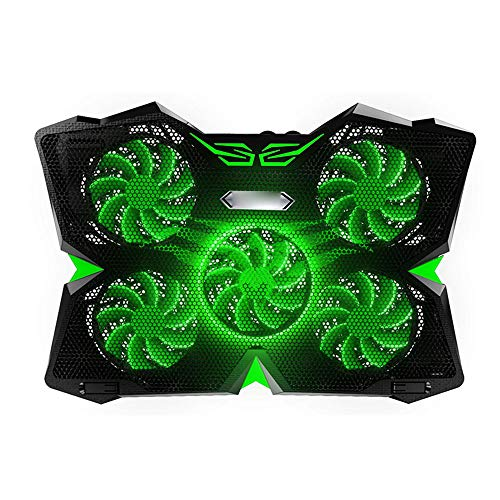 HGCF Gaming Laptop Cooling Pad, Quiet Fan Mat with 5 Quiet Fans LED Lights Lightweight Portable USB Powered Ventilated Laptop Stand for Laptops Up To 17',Green