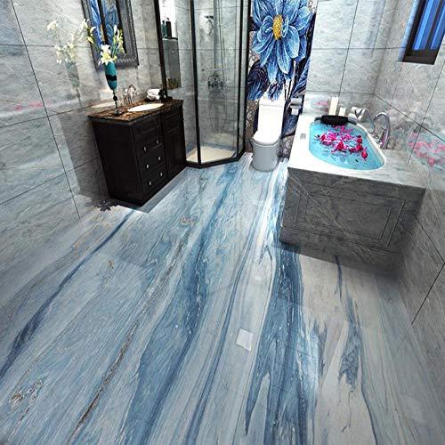 3D Boden Aufkleber Bad Pvc Selbstklebende Wasserdichte Tapete Moderne Einfache Blau Marmor 3D Bodenfliesen Tapeten Bad Küche 3 D Wohnkultur 120x100cm