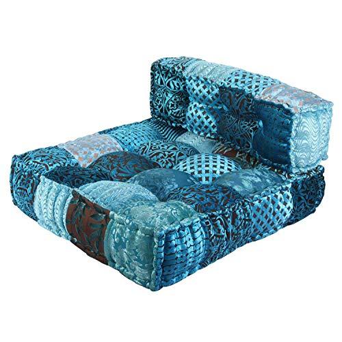 Casa Moro Orientalisches Patchwork Sofa Velvet Blau 80x75x46 cm (B/T/H) quadratisch mit Füllung | Indisches Chill-Kissen Handmade Lounge Sessel Sitzkissen in Boho Style | MA3034