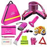 HLWDFLZ Car Roadside Emergency Kit, Emergency Roadside Assistance Car Kit- Jumper Cables, Safety Hammer, Tow Rope, Reflective Warning Triangle, First Aid Kit, Pink Car Safety Emergency Tool