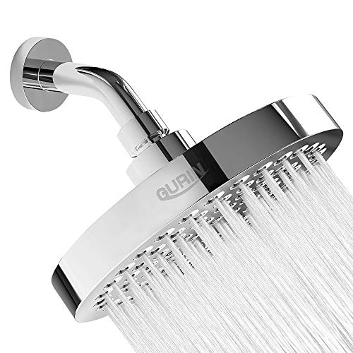 Gurin Shower Head High Pressure Rain, Luxury Bathroom Showerhead with Chrome Plated Finish, Adjustable Angles, Anti-Clogging Silicone Nozzles (2.5 GPM)