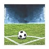 MONTOJ Fußballfeld Eck-Fußball-Tischset mit 4 Platzdeckchen für Esstische, waschbar, 30,5 x 30,5 cm