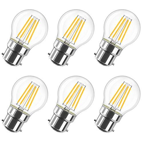 LVWIT 4W Ampoule LED Filament à Bayonnate G45 B22, 2700K Blanc Chaud, 470Lm, Ampoule Vintage, Non-dimmable, Lot de 6