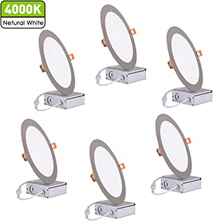 18W 8 Inch Recessed Light with Junction Box, 4000K Cool White CRI80+ 1500Lm Slim Panel Light, Damp Location, UL Certified, Brushed Nickel, Pack of 6 by JARLSTAR