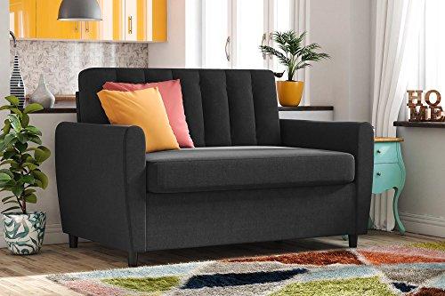 Novogratz Brittany Sleeper Sofa with Memory Foam Mattress - Twin - Dark Grey