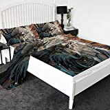 Wolf Warrior by SunimaArt 3D Printed Bed Sheets 4-Piece Premium Quality 1800 Microfiber Non-Fade Breathable Soft - 1 Flat Sheet,1 Fitted Sheet,2 Shams (Queen)