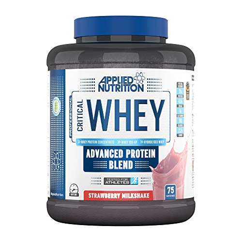 Applied Nutrition Critical Whey Protein Powder Shake, Gold Muscle Building Supplement with Glutamine & High Standard Amino Acids, BCAA 2.27kg - 75 Servings (Strawberry Milkshake)